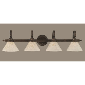 Curl Four-Light Bath Vanity Light - Bronze with 7 Inch Gold Ice Glass