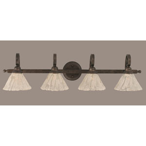 Curl Four-Light Bath Vanity Light - Bronze with 7 Inch Italian Ice Glass