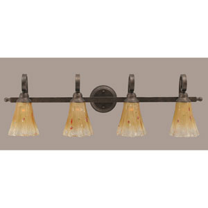 Curl Four-Light Bath Vanity Light - Bronze with 5.5 Inch Amber Crystal Glass