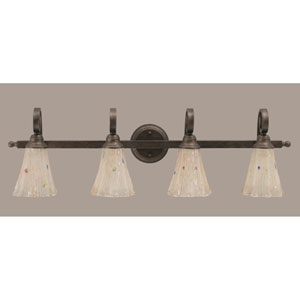 Curl Four-Light Bath Vanity Light - Bronze with 5.5 Inch Frosted Crystal Glass