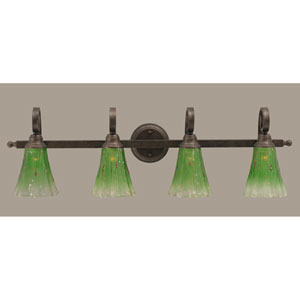 Curl Four-Light Bath Vanity Light - Bronze with 5.5 Inch Kiwi Green Crystal Glass