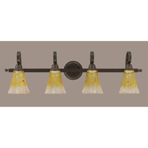 Curl Four-Light Bath Vanity Light - Bronze with 5.5 Inch Gold Champagne Crystal Glass