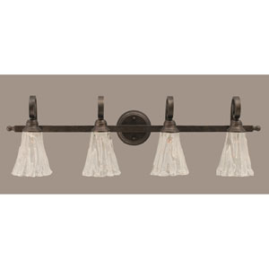 Curl Four-Light Bath Vanity Light - Bronze with 5.5 Inch Italian Ice Glass