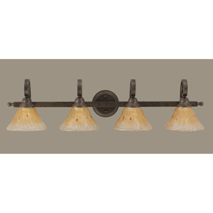 Curl Bronze Four-Light Bath Fixture with Amber Crystal Glass