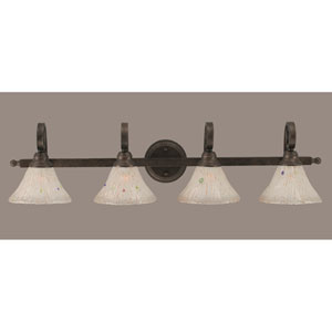 Curl Bronze Four-Light Bath Light with Frosted Crystal Glass Shade