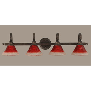 Curl Bronze Four-Light Bath Light with Raspberry Crystal Glass Shade