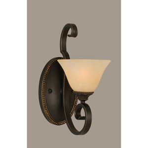 Elegante One-Light Wall Sconce - Dark Granite Finish with 7 Inch Amber Marble Glass