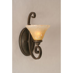 Elegante Dark Granite Wall Sconce with Amber Crystal Glass