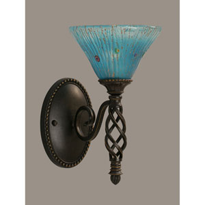 Elegante One-Light Wall Sconce - Dark Granite Finish with 7 Inch Teal Crystal Glass