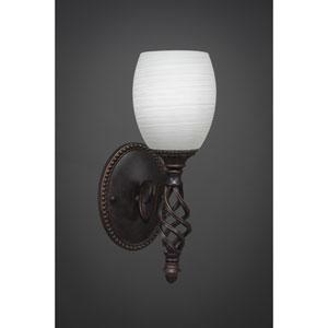 Elegante One-Light Wall Sconce - Dark Granite Finish with 7 Inch White Linen Glass