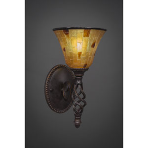 Elegante One-Light Wall Sconce - Dark Granite Finish with 7 Inch Penshell Resin Glass