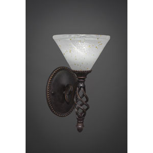 Elegante One-Light Wall Sconce - Dark Granite Finish with 7 Inch Gold Ice Glass