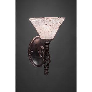 Elegante One-Light Wall Sconce - Dark Granite Finish with 7 Inch Italian Ice Glass