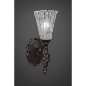 Elegante One-Light Wall Sconce - Dark Granite Finish with 5.5 Inch Italian Ice Glass