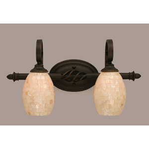 Elegant Dark Granite Two-Light Bath Bar w/ 5-Inch Seashell Glass