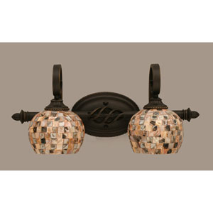 Elegant Dark Granite Two-Light Bath Bar w/ 6-Inch Seashell Glass