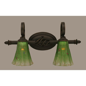 Elegant Dark Granite Two-Light Bath Bar w/ 5.5-Inch Kiwi Green Crystal Glass