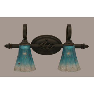 Elegant Dark Granite Two-Light Bath Bar w/ 5.5-Inch Teal Crystal Glass