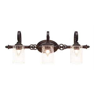 Elegante Dark Granite Three-Light Bath Bar with 4-Inch Clear Bubble Glass