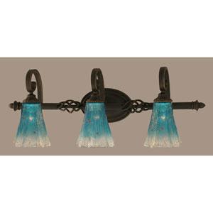 Elegant Dark Granite Three-Light Bath Bar w/ 5.5-Inch Teal Crystal Glass