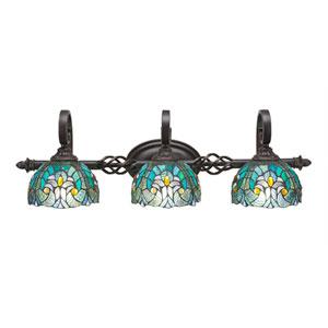 Elegante Dark Granite Three-Light Bath Bar with 7-Inch Turquoise Cypress Tiffany Glass