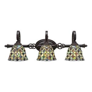 Elegante Dark Granite Three-Light Bath Bar with 7-Inch Crescent Tiffany Glass