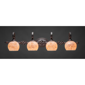 Elegante Four-Light Bath Vanity Light - Dark Granite Finish with 6 Inch Seashell Glass
