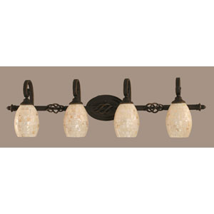 Elegante Four-Light Bath Vanity Light - Dark Granite Finish with 5 Inch Seashell Glass