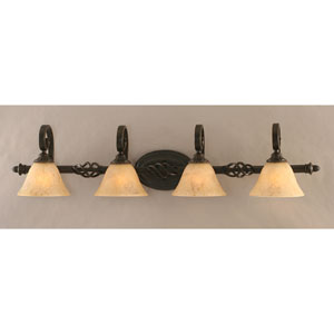 Elegante Four-Light Bath Vanity Light - Dark Granite Finish with 7 Inch Italian Marble Glass