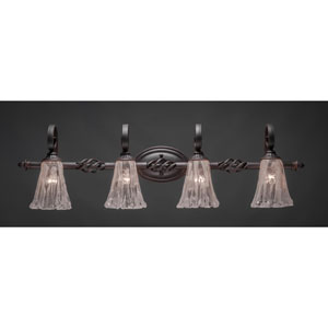 Elegante Four-Light Bath Vanity Light - Dark Granite Finish with 5.5 Inch Italian Ice Glass