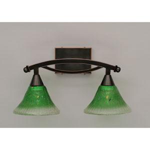 Bow Black Copper Two-Light Bath Bar with Kiwi Green Crystal Glass