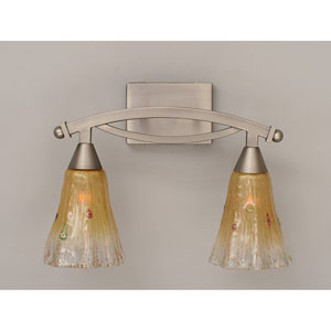 Bow Brushed Nickel Two-Light Bath Bar with Amber Crystal Glass