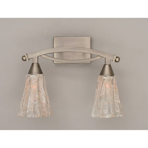 Bow Brushed Nickel Two-Light Bath Bar with Italian Ice Glass