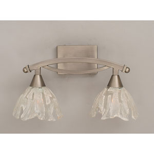 Bow Brushed Nickel Two-Light Bath Fixture with Italian Ice Glass