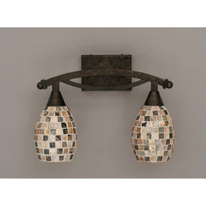 Bow Bronze Bath Bar with Sea Shell Glass
