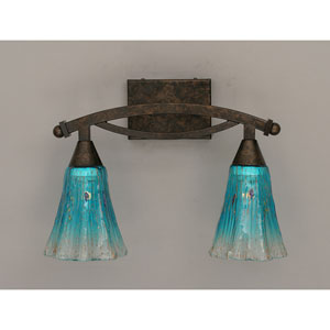 Bow Bronze Bath Bar with Teal Crystal Glass