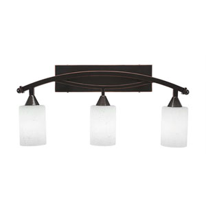 Bow Black Copper Three-Light Bath Bar with 4-Inch White Muslin Glass