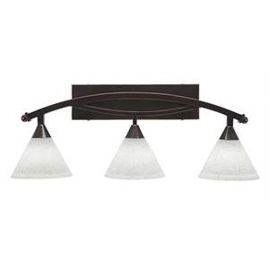 Bow Black Copper Three-Light Bath Bar with 7-Inch White Muslin Glass