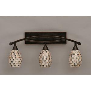 Bow Black Copper Three-Light Bath Bar w/ 5-Inch Sea Shell Glass