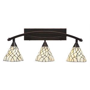 Bow Black Copper Three-Light Bath Bar with 7-Inch Sandhill Tiffany Glass