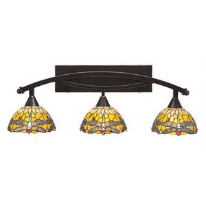 Bow Black Copper Three-Light Bath Bar with 7-Inch Amber Dragonfly Tiffany Glass