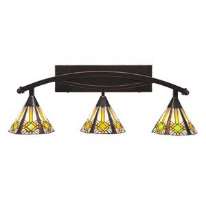 Bow Black Copper Three-Light Bath Bar with 7-Inch Hampton Tiffany Glass