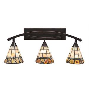 Bow Black Copper Three-Light Bath Bar with 7-Inch Cobblestone Tiffany Glass