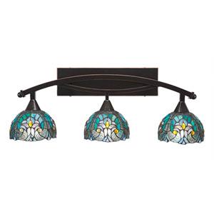 Bow Black Copper Three-Light Bath Bar with 7-Inch Turquoise Cypress Tiffany Glass