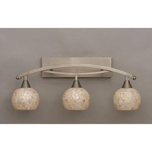 Bow Brushed Nickel Three-Light Bath Bar w/ 6-Inch Sea Shell Glass