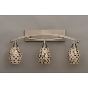 Bow Brushed Nickel Three-Light Bath Bar w/ 6-Inch Sea Shell Glass
