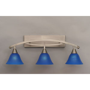 Bow Brushed Nickel Three-Light Bath Bar w/ 7-Inch Blue Italian Glass