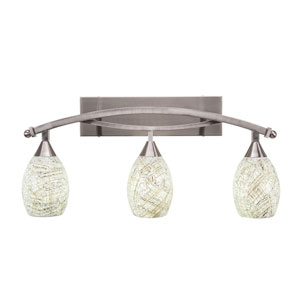 Bow Brushed Nickel Three-Light Bath Bar with 5-Inch Natural Fusion Glass