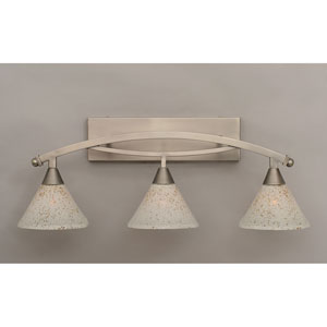 Bow Brushed Nickel Three-Light Bath Bar w/ 7-Inch Gold Ice Glass