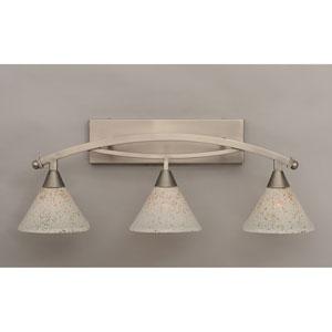 Bow Brushed Nickel Three-Light Bath Bar w/ 7-Inch Gold Ice Glass